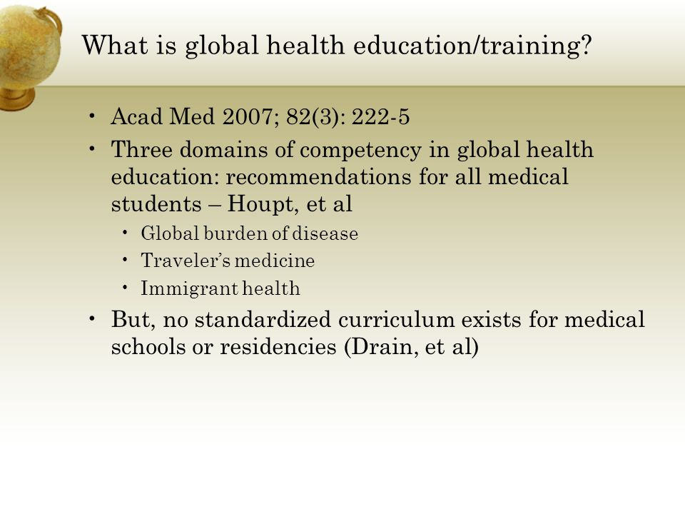 What is global health education/training.