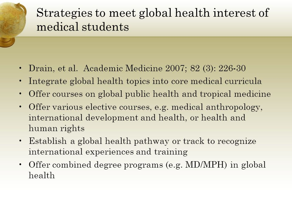 Strategies to meet global health interest of medical students Drain, et al.