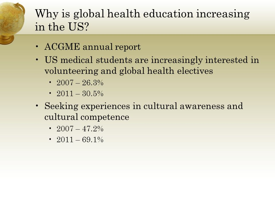 Why is global health education increasing in the US.