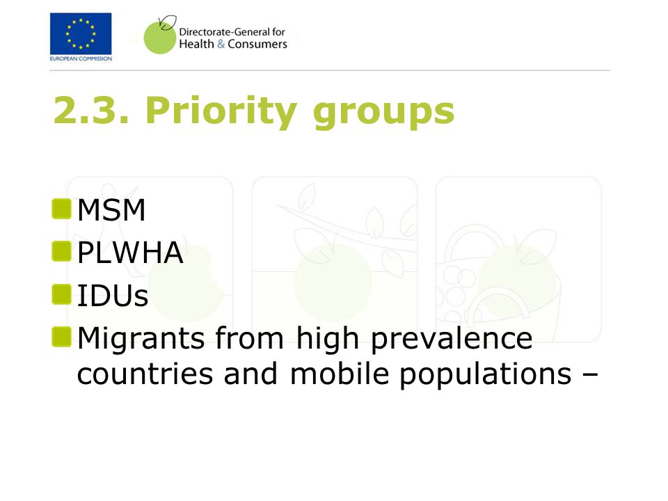 2.3. Priority groups MSM PLWHA IDUs Migrants from high prevalence countries and mobile populations –