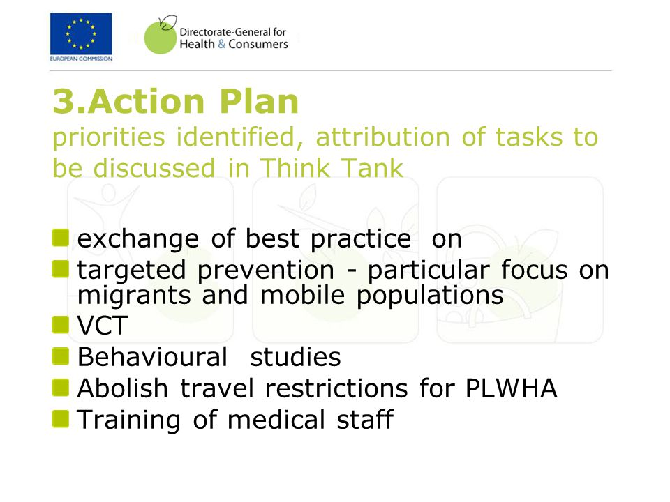 3.Action Plan priorities identified, attribution of tasks to be discussed in Think Tank exchange of best practice on targeted prevention - particular focus on migrants and mobile populations VCT Behavioural studies Abolish travel restrictions for PLWHA Training of medical staff