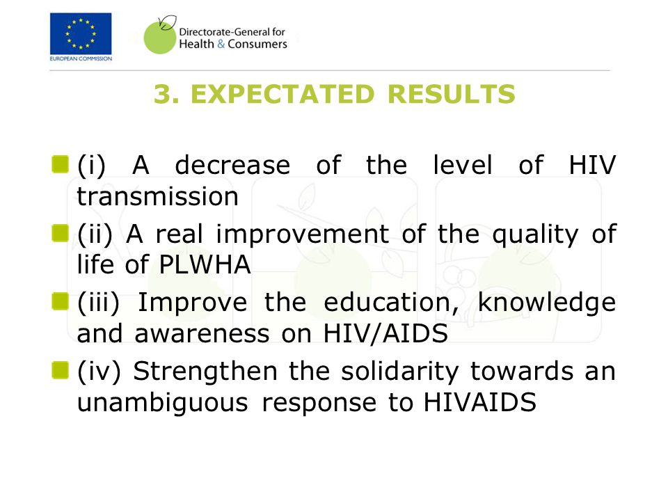 3. EXPECTATED RESULTS (i) A decrease of the level of HIV transmission (ii) A real improvement of the quality of life of PLWHA (iii) Improve the educat