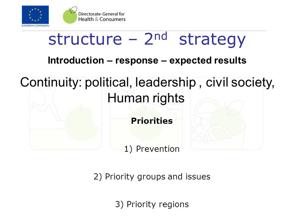 structure – 2 nd strategy Priorities 1)Prevention 2) Priority groups and issues 3) Priority regions Continuity: political, leadership, civil society, Human rights Introduction – response – expected results