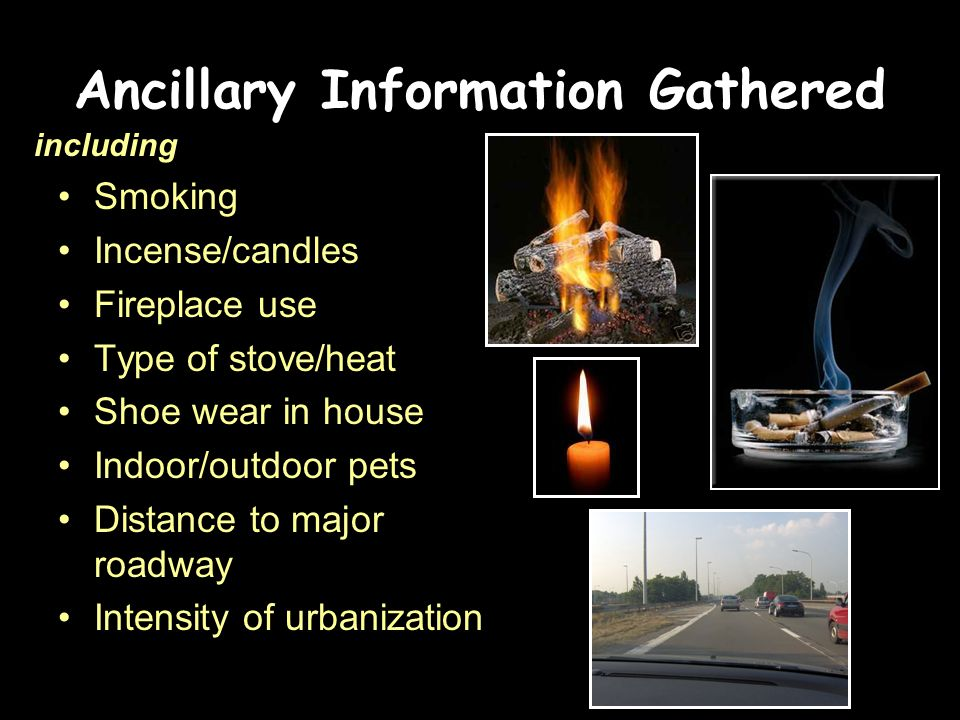 Ancillary Information Gathered Smoking Incense/candles Fireplace use Type of stove/heat Shoe wear in house Indoor/outdoor pets Distance to major roadway Intensity of urbanization including