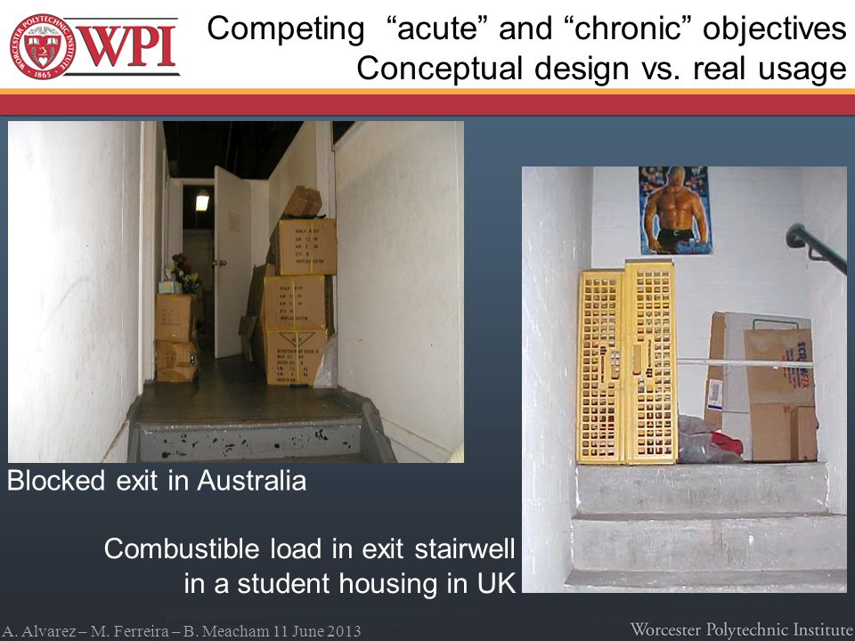 A. Alvarez – M. Ferreira – B. Meacham 11 June 2013 Blocked exit in Australia Combustible load in exit stairwell in a student housing in UK Competing a