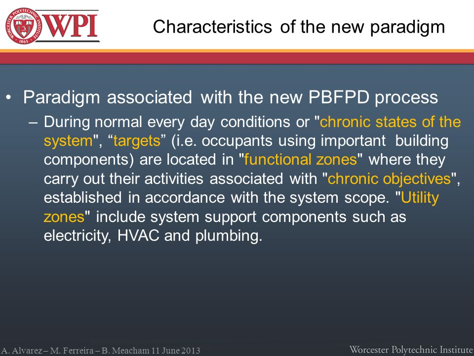 A. Alvarez – M. Ferreira – B. Meacham 11 June 2013 Characteristics of the new paradigm Paradigm associated with the new PBFPD process –During normal e