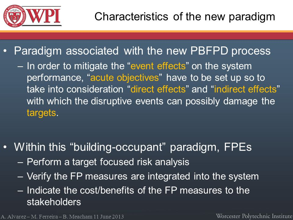 A. Alvarez – M. Ferreira – B. Meacham 11 June 2013 Characteristics of the new paradigm Paradigm associated with the new PBFPD process –In order to mit
