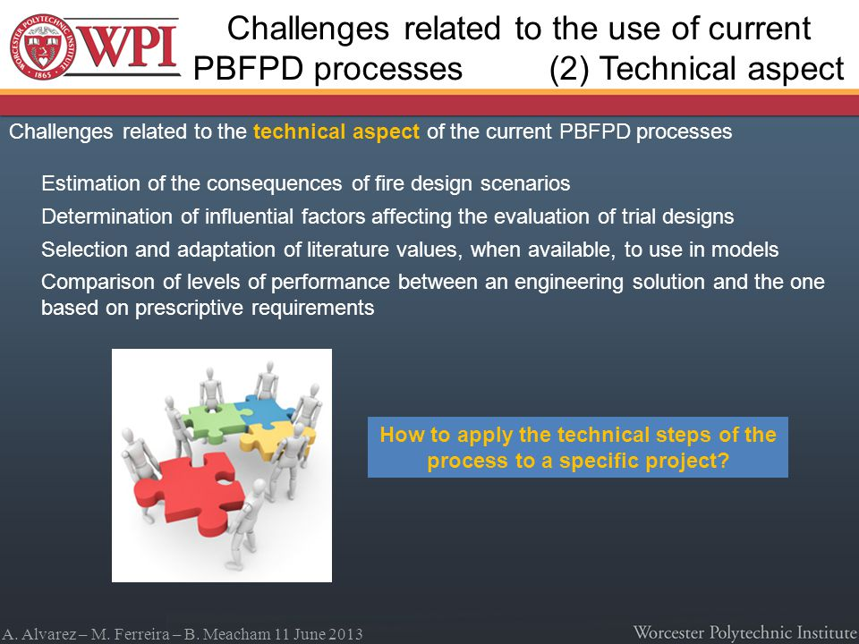 A. Alvarez – M. Ferreira – B. Meacham 11 June 2013 Challenges related to the technical aspect of the current PBFPD processes Estimation of the consequ