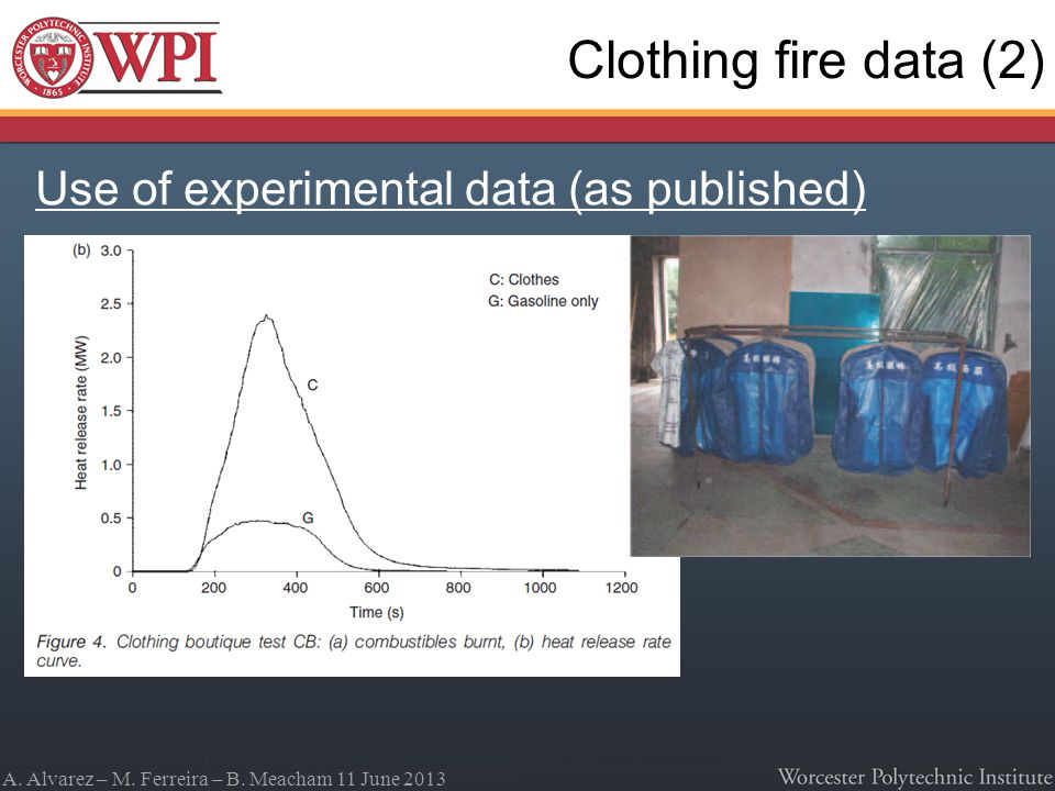 A. Alvarez – M. Ferreira – B. Meacham 11 June 2013 Clothing fire data (2) Use of experimental data (as published)