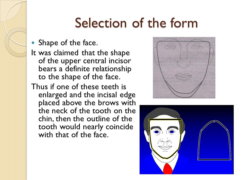 Selection of the form Shape of the face.
