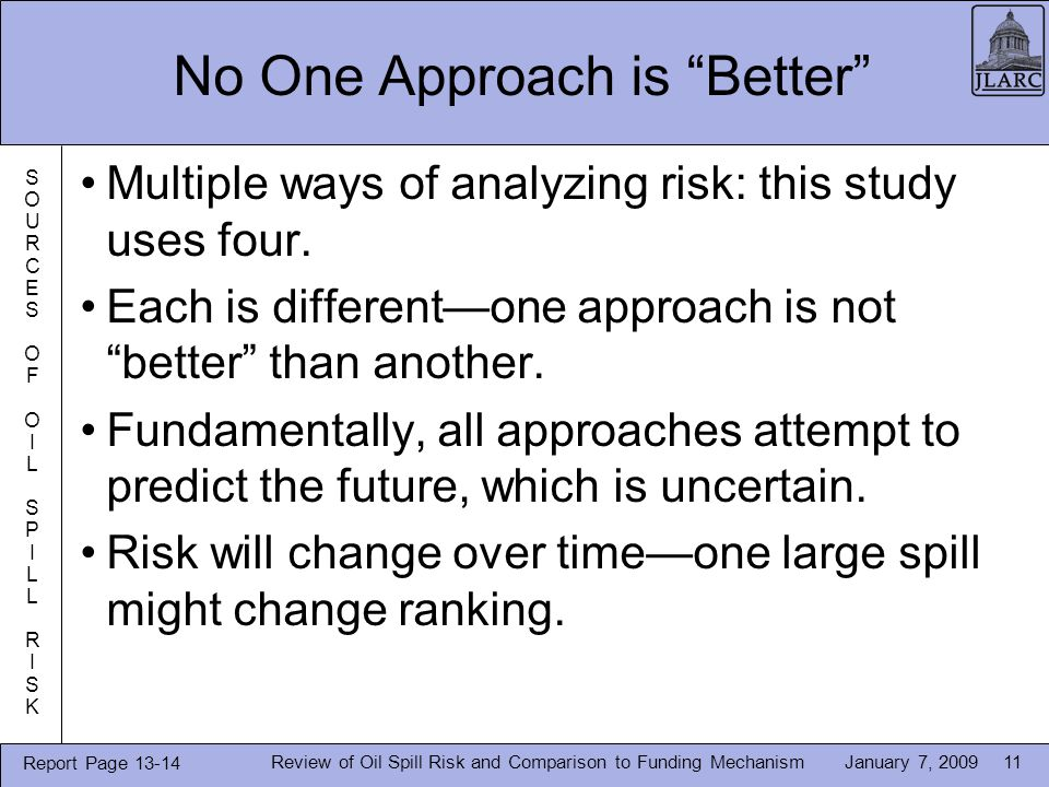 January 7, 2009 No One Approach is Better Multiple ways of analyzing risk: this study uses four.