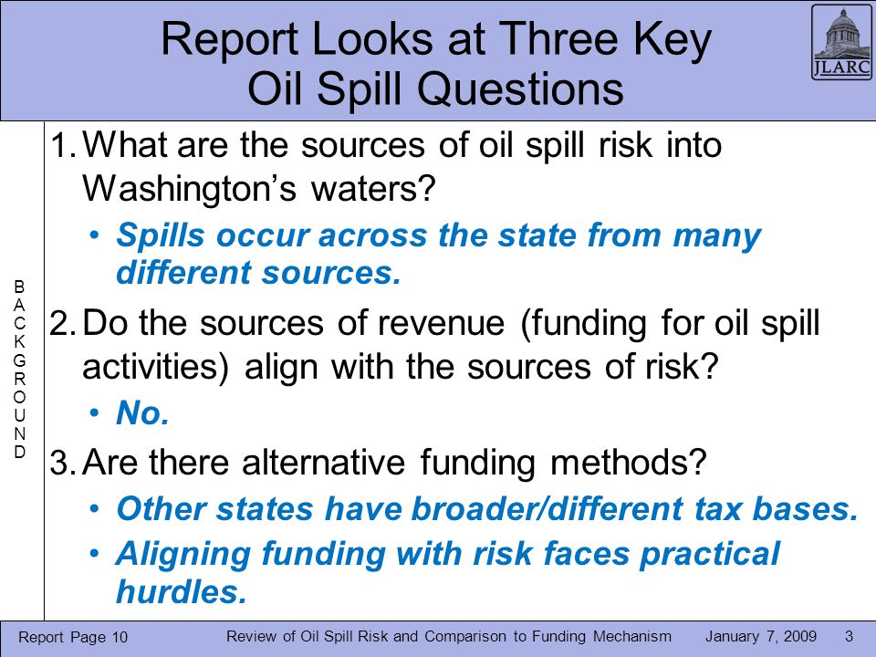 January 7, 2009Review of Oil Spill Risk and Comparison to Funding Mechanism3 Report Looks at Three Key Oil Spill Questions 1.