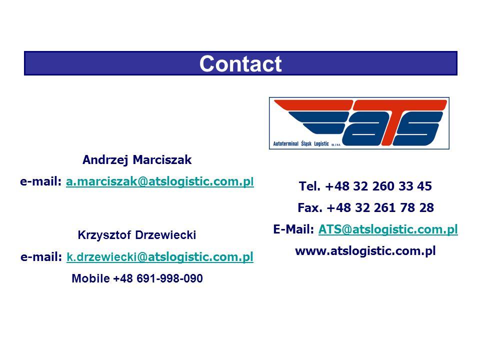 Contact Andrzej Marciszak e-mail: a.marciszak@atslogistic.com.p la.marciszak@atslogistic.com.p l Krzysztof Drzewiecki e-mail: k.drzewiecki @atslogistic.com.pl k.drzewiecki @atslogistic.com.pl Mobile +48 691-998-090 Tel.