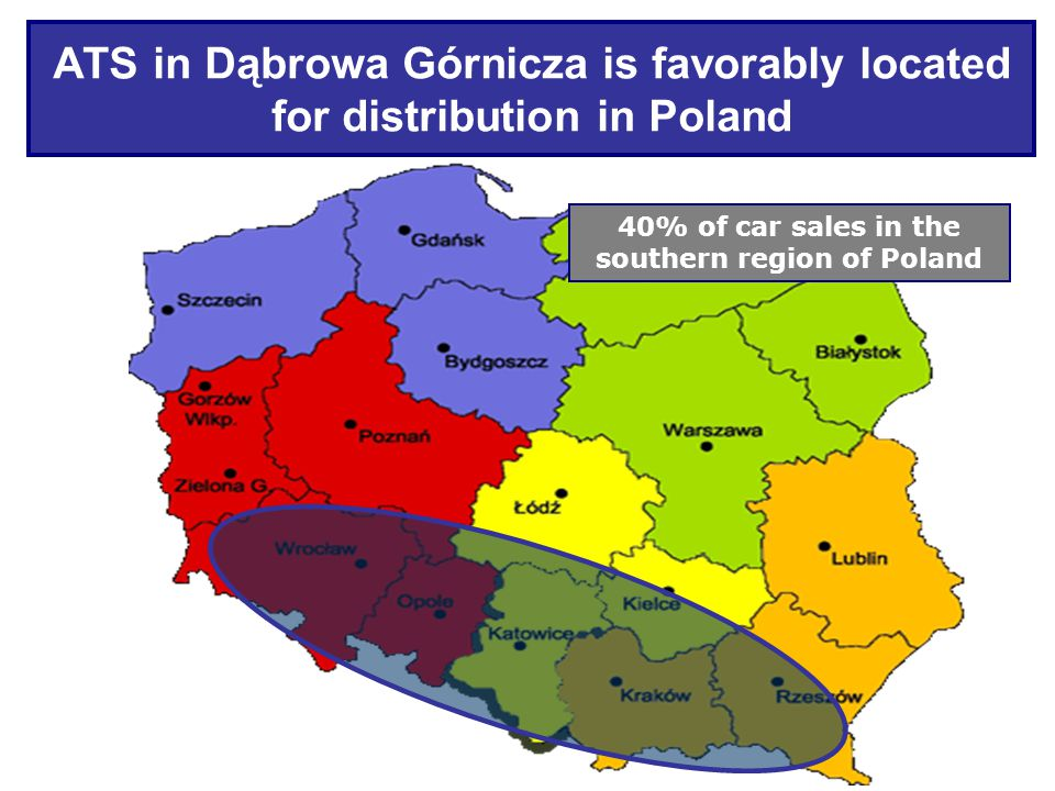 ATS in Dąbrowa Górnicza is favorably located for distribution in Poland 40% of car sales in the southern region of Poland