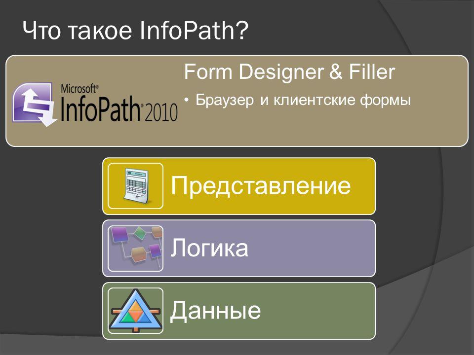 Form Designer & Filler Браузер и клиентские формы Что такое InfoPath Представление Логика Данные