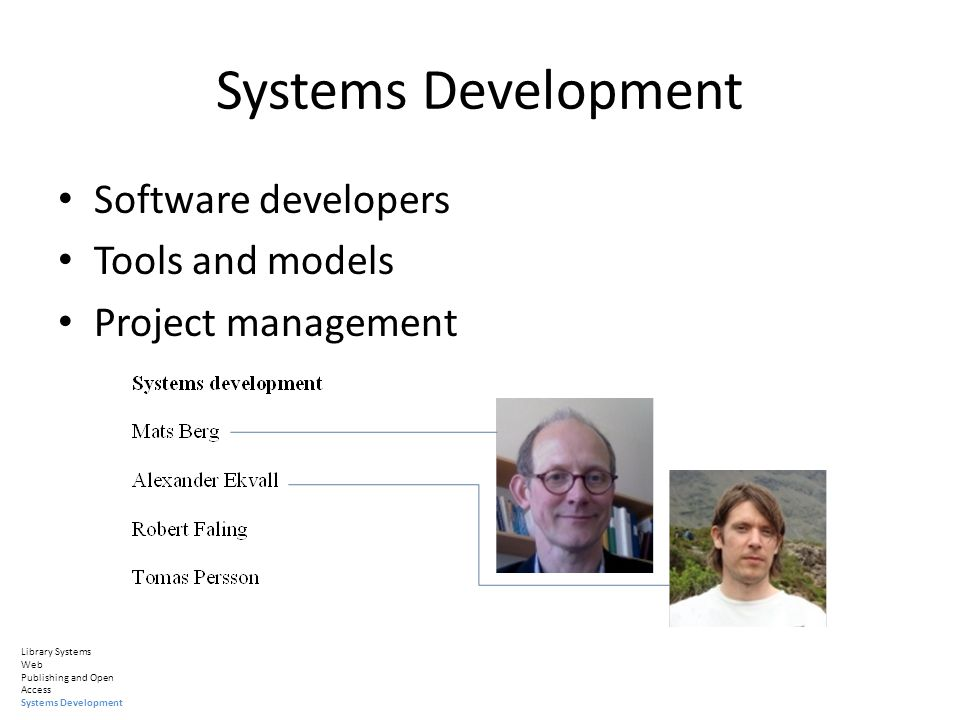 Systems Development Software developers Tools and models Project management Library Systems Web Publishing and Open Access Systems Development