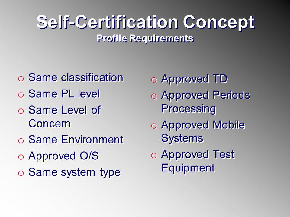 Self-Certification Concept Profile Requirements o Same classification o Same PL level o Same Level of Concern o Same Environment o Approved O/S o Same