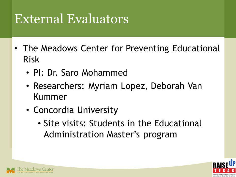 External Evaluators The Meadows Center for Preventing Educational Risk PI: Dr. Saro Mohammed Researchers: Myriam Lopez, Deborah Van Kummer Concordia U