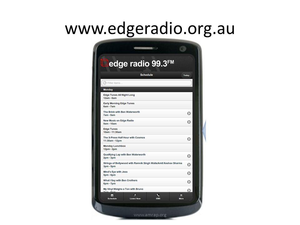 www.edgeradio.org.au www.amrap.org