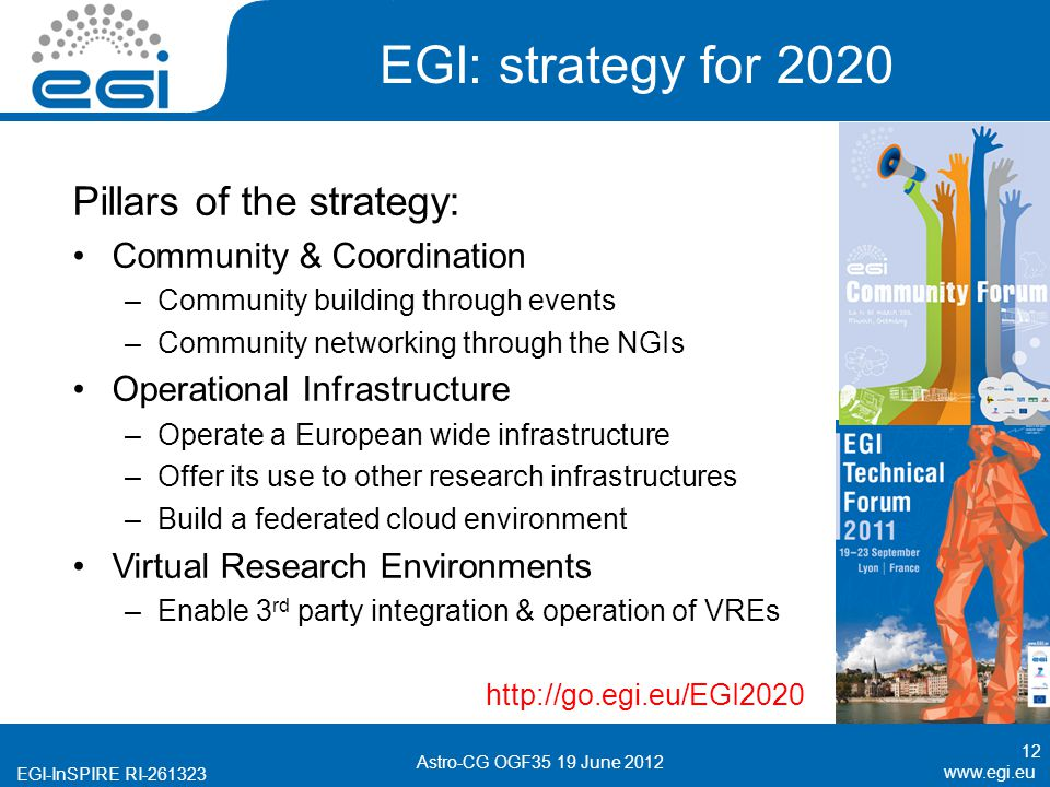 EGI-InSPIRE RI EGI: strategy for 2020 Pillars of the strategy: Community & Coordination –Community building through events –Community networking through the NGIs Operational Infrastructure –Operate a European wide infrastructure –Offer its use to other research infrastructures –Build a federated cloud environment Virtual Research Environments –Enable 3 rd party integration & operation of VREs   12 Astro-CG OGF35 19 June 2012