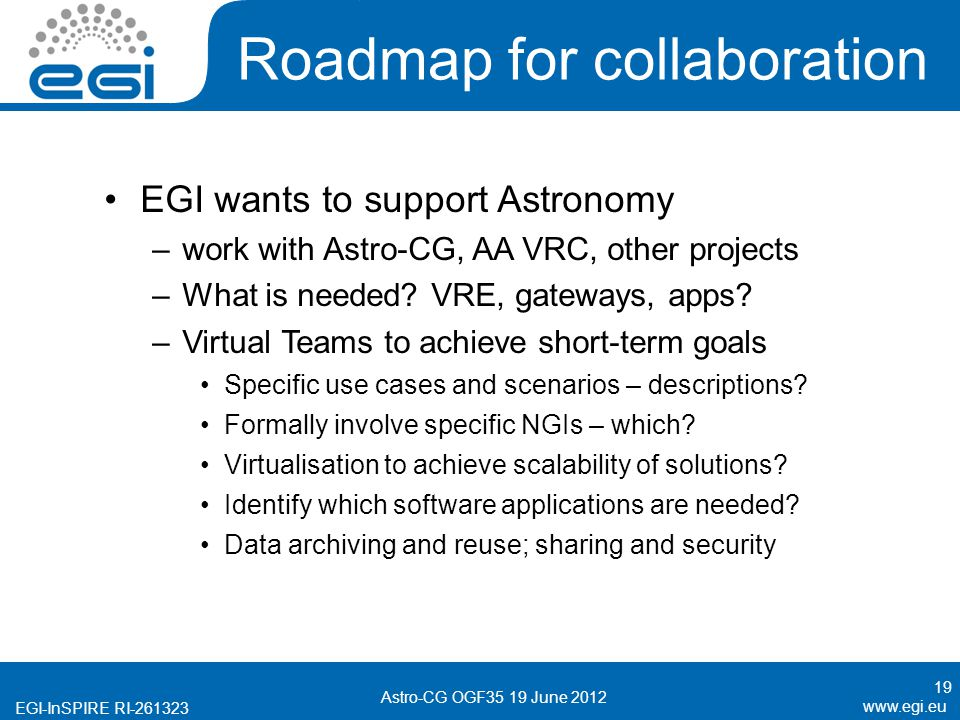 EGI-InSPIRE RI Roadmap for collaboration EGI wants to support Astronomy –work with Astro-CG, AA VRC, other projects –What is needed.