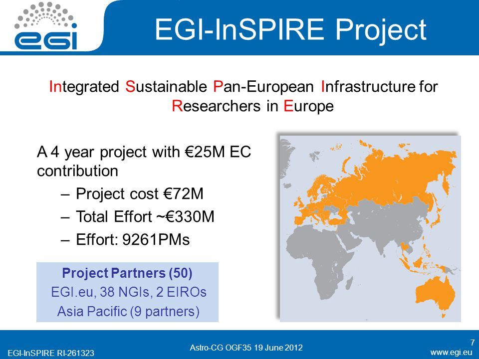 EGI-InSPIRE RI EGI-InSPIRE Project Integrated Sustainable Pan-European Infrastructure for Researchers in Europe A 4 year project with 25M EC contribution –Project cost 72M –Total Effort ~330M –Effort: 9261PMs 7 Astro-CG OGF35 19 June 2012 Project Partners (50) EGI.eu, 38 NGIs, 2 EIROs Asia Pacific (9 partners)