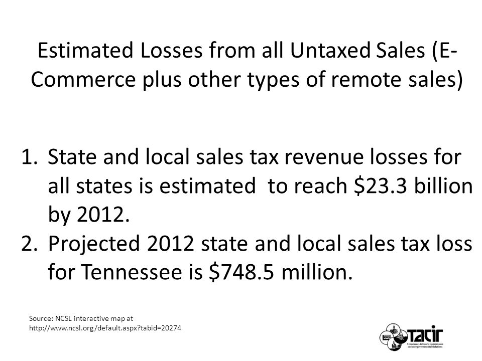 1.State and local sales tax revenue losses for all states is estimated to reach $23.3 billion by 2012.