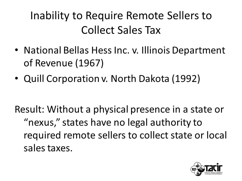 Inability to Require Remote Sellers to Collect Sales Tax National Bellas Hess Inc.