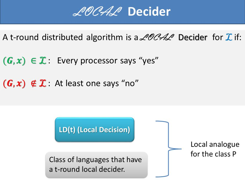 Class of languages that have a t-round local decider. LD(t) (Local Decision) Local analogue for the class P LOCAL Decider