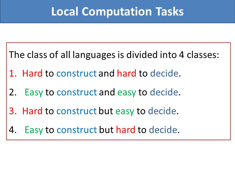 Local Computation Tasks The class of all languages is divided into 4 classes: 1.Hard to construct and hard to decide. 2. Easy to construct and easy to