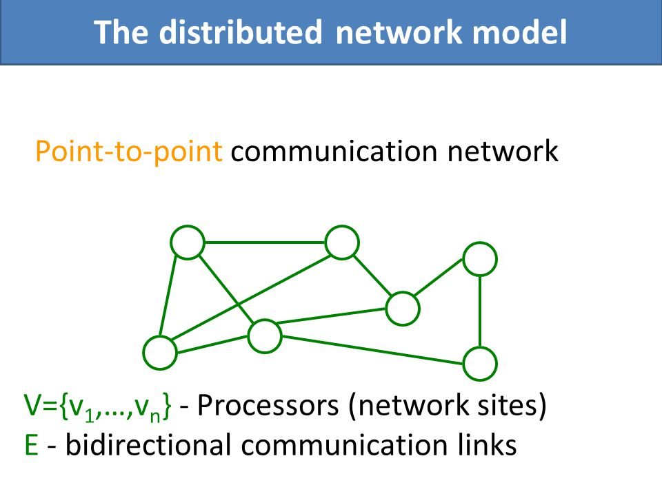 Point-to-point communication network The distributed network model V={v 1,…,v n } - Processors (network sites) E - bidirectional communication links