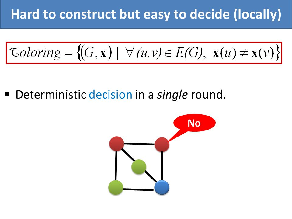 Deterministic decision in a single round. No