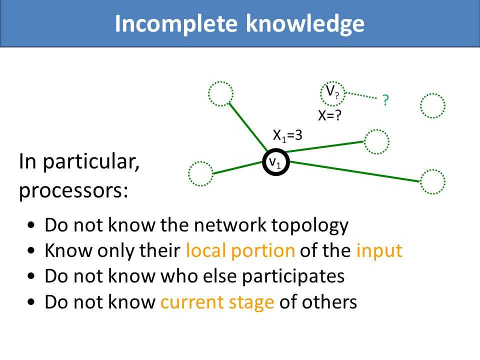 Do not know the network topology Know only their local portion of the input Do not know who else participates Do not know current stage of others Inco