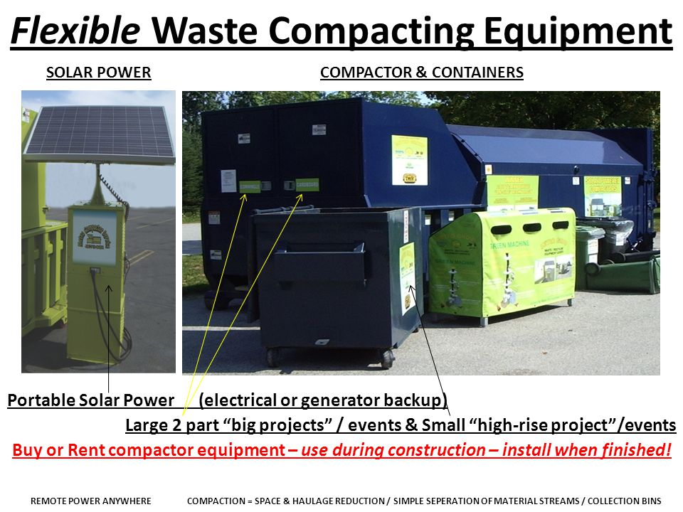 Flexible Waste Compacting Equipment SOLAR POWERCOMPACTOR & CONTAINERS Portable Solar Power (electrical or generator backup) Large 2 part big projects / events & Small high-rise project/events Buy or Rent compactor equipment – use during construction – install when finished.