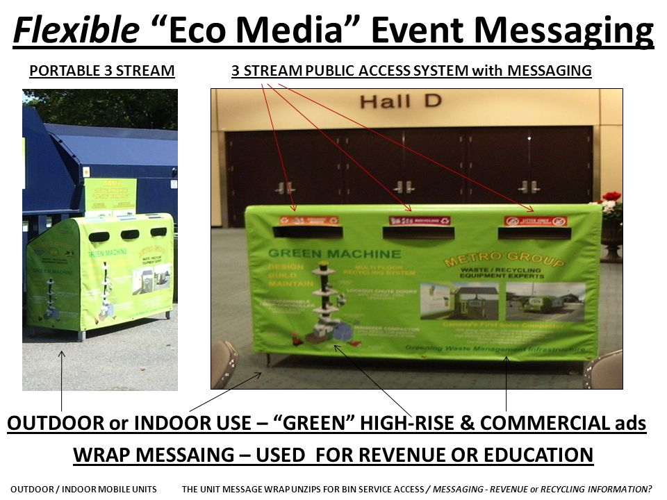 Flexible Eco Media Event Messaging PORTABLE 3 STREAM3 STREAM PUBLIC ACCESS SYSTEM with MESSAGING OUTDOOR or INDOOR USE – GREEN HIGH-RISE & COMMERCIAL ads WRAP MESSAING – USED FOR REVENUE OR EDUCATION OUTDOOR / INDOOR MOBILE UNITSTHE UNIT MESSAGE WRAP UNZIPS FOR BIN SERVICE ACCESS / MESSAGING - REVENUE or RECYCLING INFORMATION