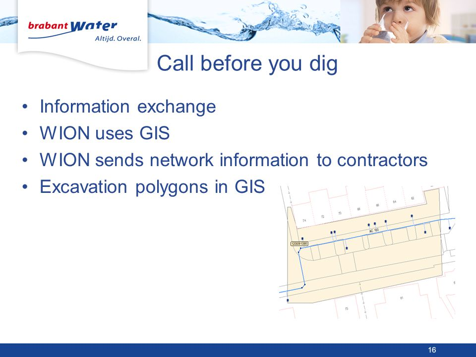 Call before you dig Information exchange WION uses GIS WION sends network information to contractors Excavation polygons in GIS 16