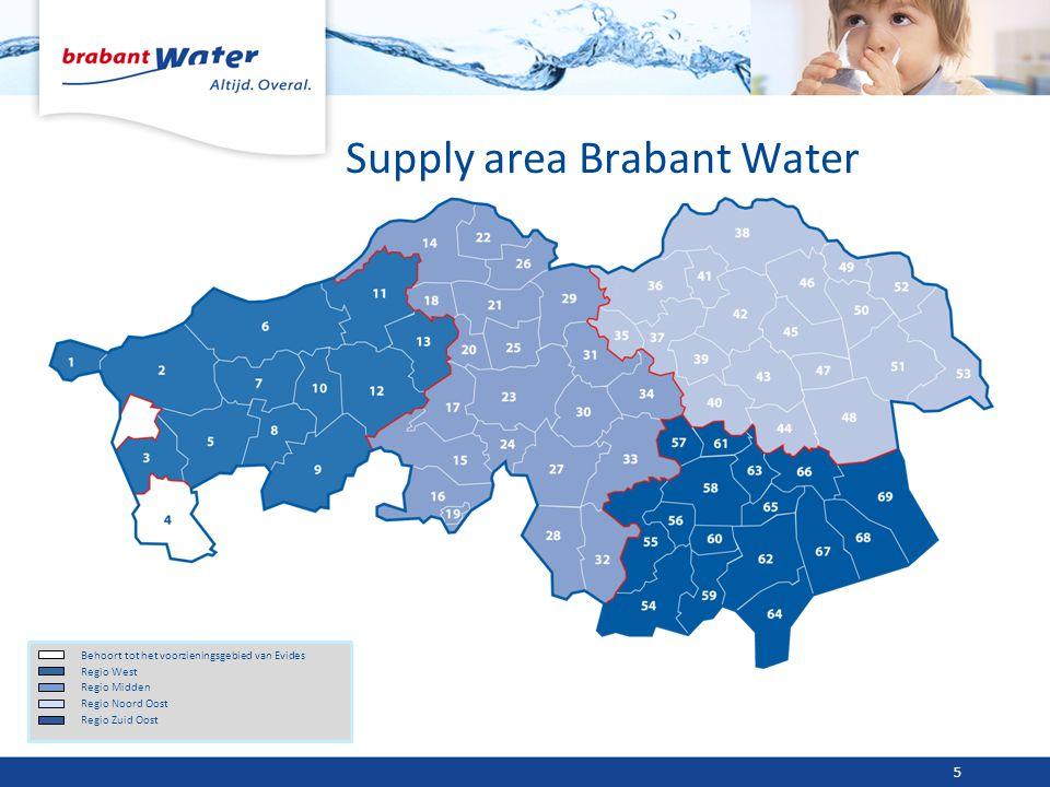 Supply area Brabant Water Behoort tot het voorzieningsgebied van Evides Regio West Regio Midden Regio Noord Oost Regio Zuid Oost 5