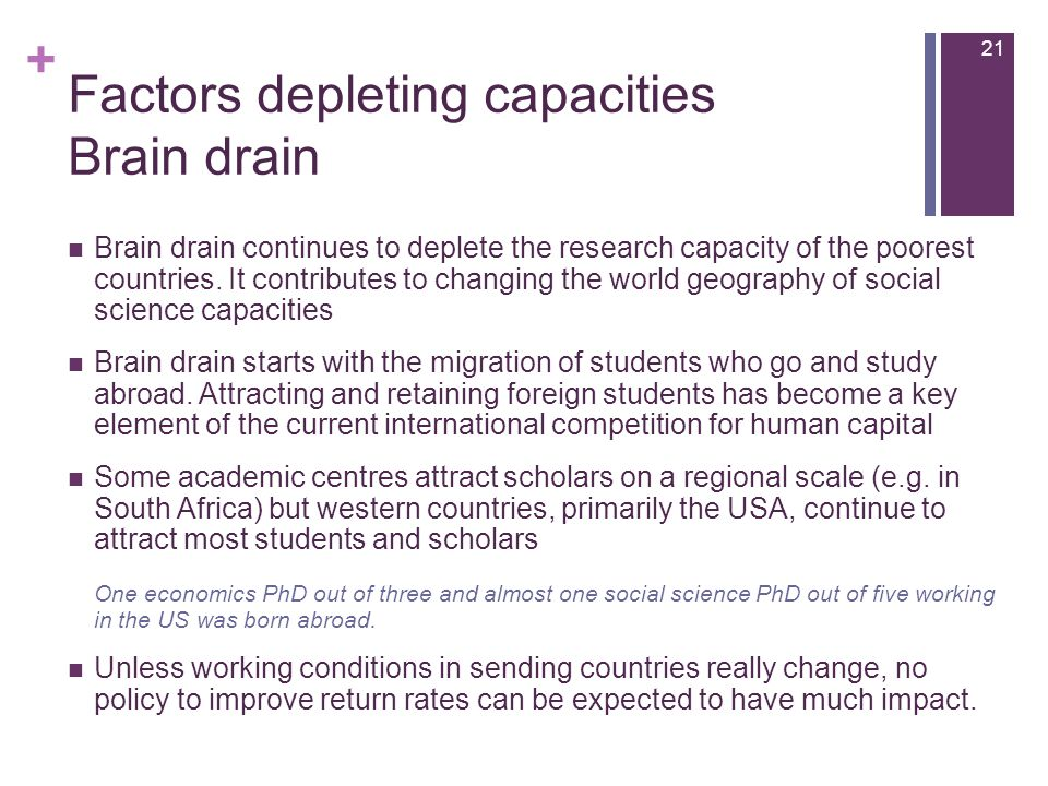 + Factors depleting capacities Brain drain Brain drain continues to deplete the research capacity of the poorest countries.