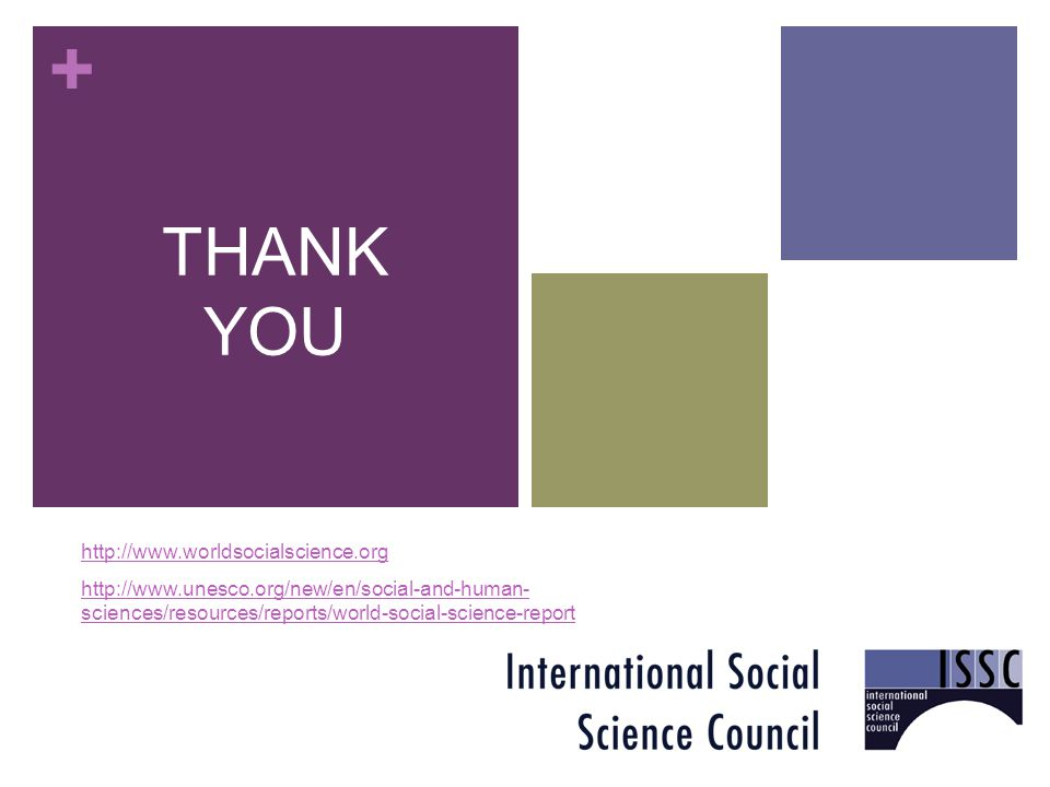 + THANK YOU http://www.worldsocialscience.org http://www.unesco.org/new/en/social-and-human- sciences/resources/reports/world-social-science-report