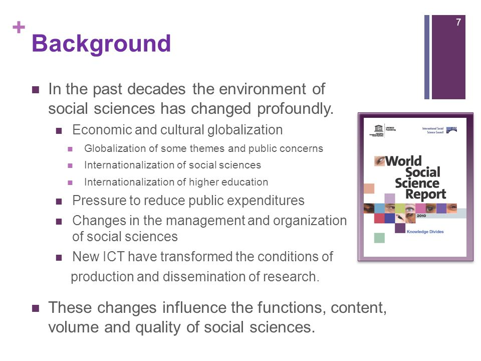 + Background In the past decades the environment of social sciences has changed profoundly.