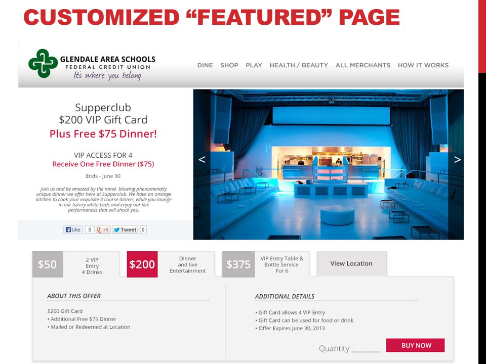 CUSTOMIZED FEATURED PAGE