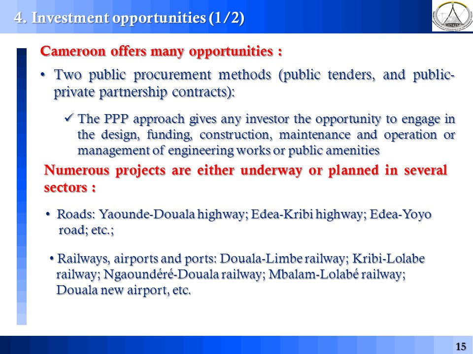 15 4. Investment opportunities (1/2) Cameroon offers many opportunities : Two public procurement methods (public tenders, and public- private partners