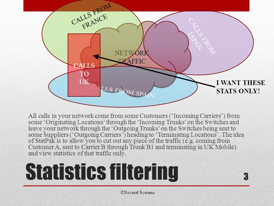 Statistics filtering All calls in your network come from some Customers (Incoming Carriers) from some Originating Locations through the Incoming Trunks on the Switches and leave your network through the Outgoing Trunks on the Switches being sent to some Suppliers (Outgoing Carriers) heading to Terminating Locations.
