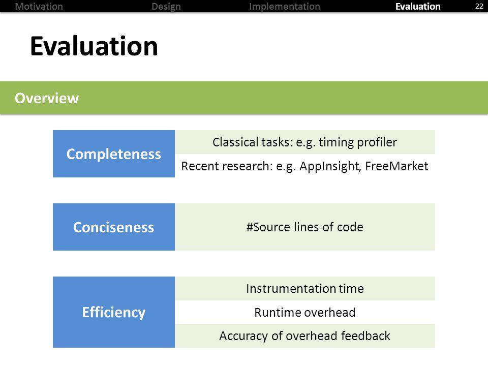 MotivationDesignImplementationEvaluation Evaluation 22 Overview Completeness Classicaltasks: e.g.