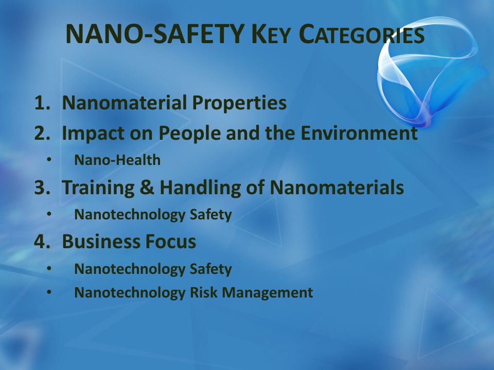 NANO-SAFETY K EY C ATEGORIES 1.Nanomaterial Properties 2.Impact on People and the Environment Nano-Health 3.Training & Handling of Nanomaterials Nanot
