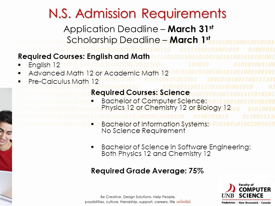 Application Deadline – March 31 st Scholarship Deadline – March 1 st Required Courses: English and Math English 12 Advanced Math 12 or Academic Math 12 Pre-Calculus Math 12 Required Courses: Science Bachelor of Computer Science: Physics 12 or Chemistry 12 or Biology 12 Bachelor of Information Systems: No Science Requirement Bachelor of Science in Software Engineering: Both Physics 12 and Chemistry 12 Required Grade Average: 75% N.S.