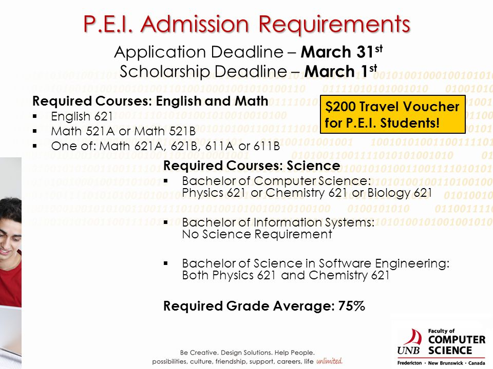 Application Deadline – March 31 st Scholarship Deadline – March 1 st Required Courses: English and Math English 621 Math 521A or Math 521B One of: Mat