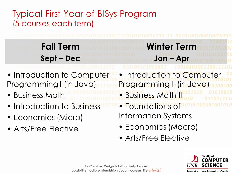 Typical First Year of BISys Program (5 courses each term) Fall Term Sept – Dec Winter Term Jan – Apr Introduction to Computer Programming I (in Java)