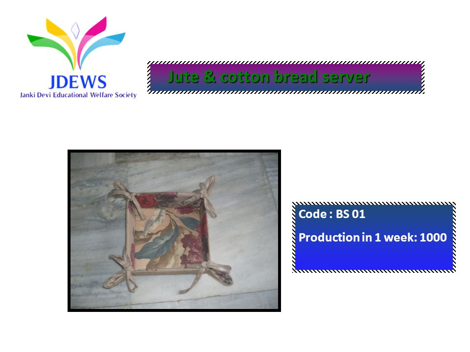 Jute & cotton bread server Jute & cotton bread server Code : BS 01 Production in 1 week: 1000