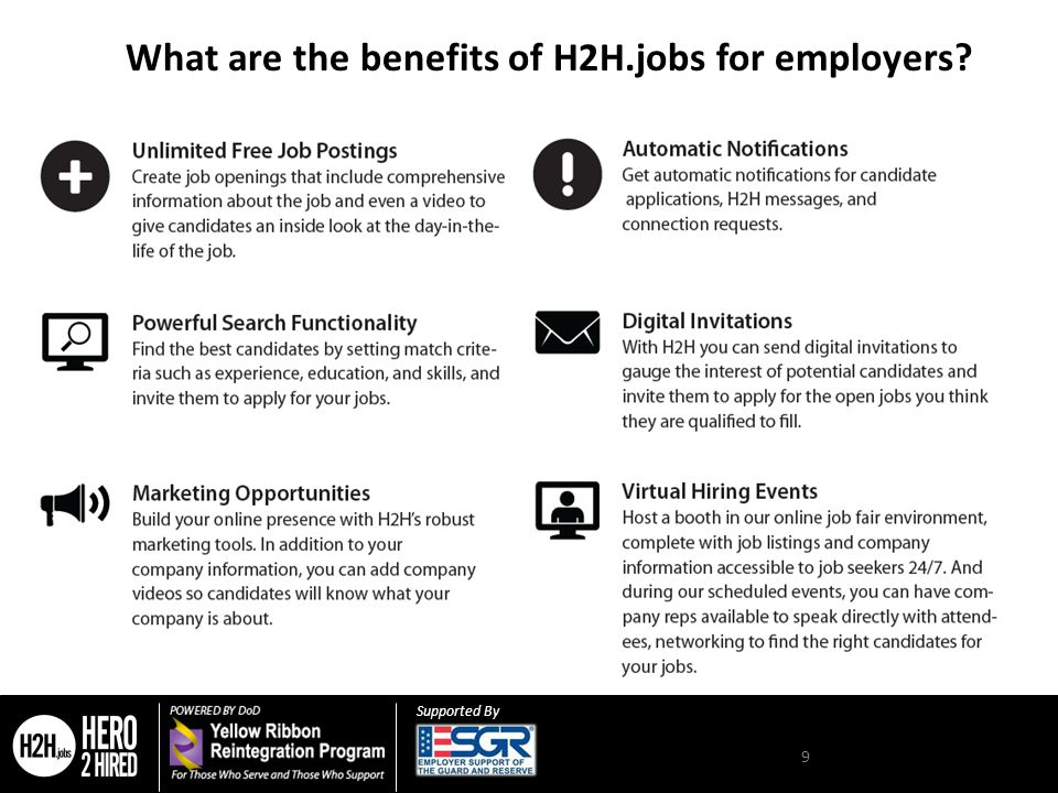 Supported By 9 What are the benefits of H2H.jobs for employers